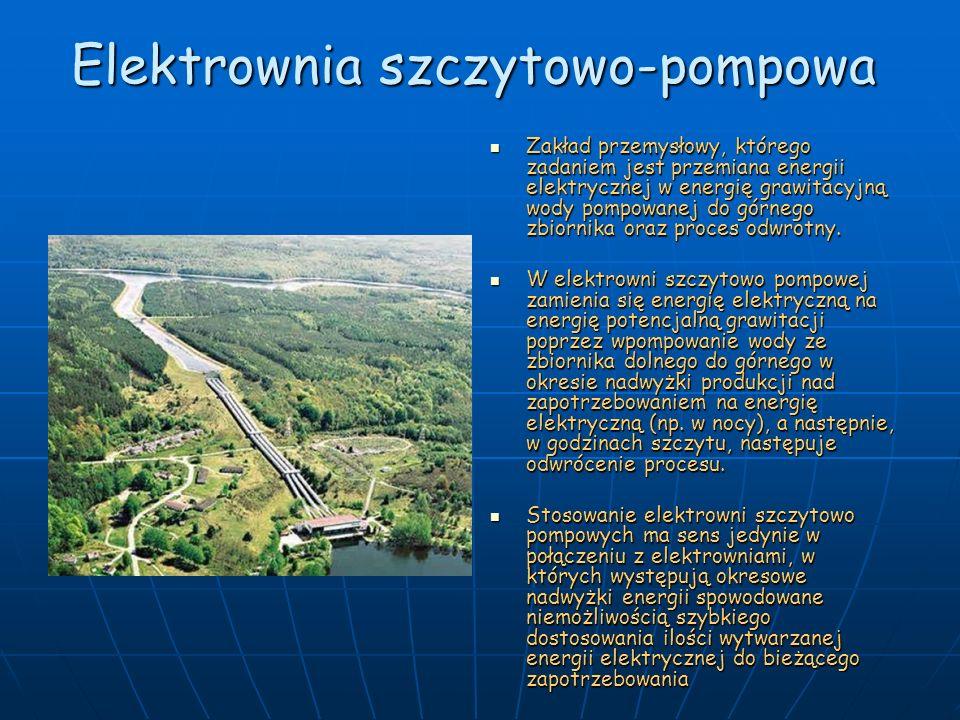 Elektrownia szczytowo-pompowa Zakład przemysłowy, którego zadaniem jest przemiana energii elektrycznej w energię grawitacyjną wody pompowanej do górne