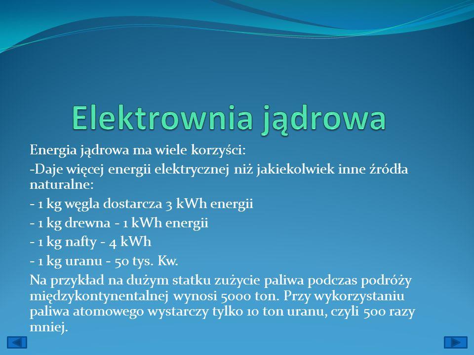 Energia jądrowa ma wiele korzyści: -Daje więcej energii elektrycznej niż jakiekolwiek inne źródła naturalne: - 1 kg węgla dostarcza 3 kWh energii - 1 kg drewna - 1 kWh energii - 1 kg nafty - 4 kWh - 1 kg uranu - 50 tys.