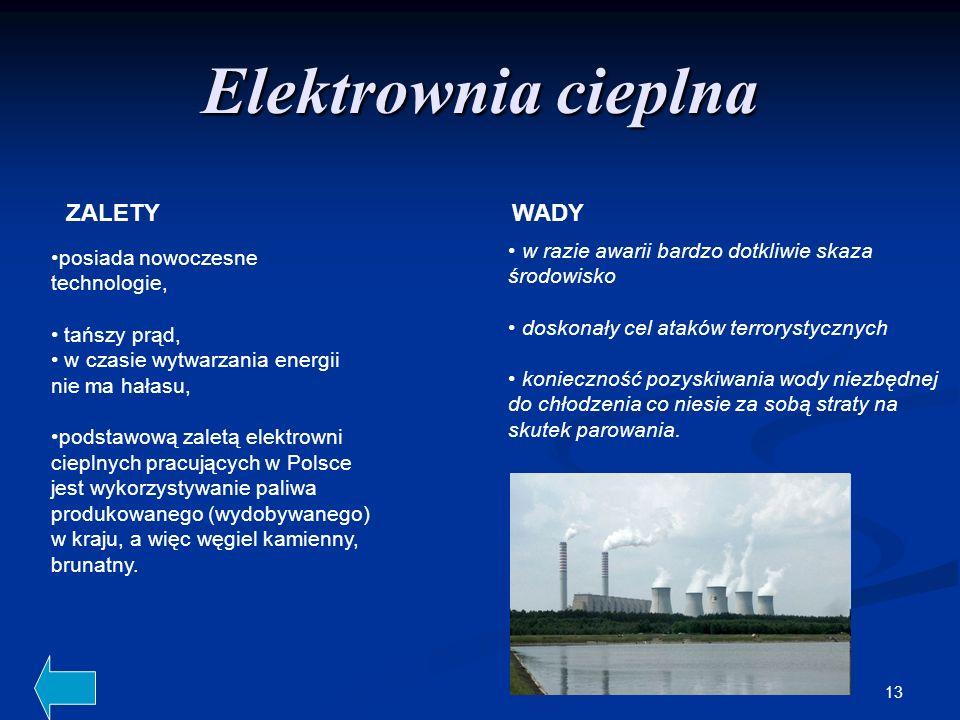 13 Elektrownia cieplna w razie awarii bardzo dotkliwie skaza środowisko doskonały cel ataków terrorystycznych konieczność pozyskiwania wody niezbędnej
