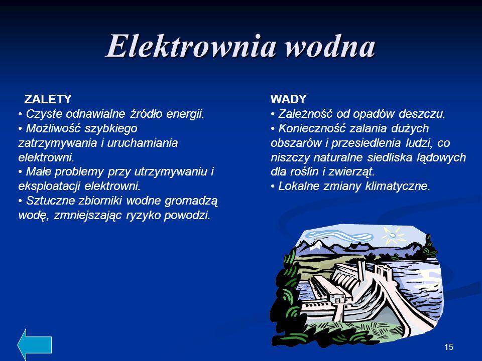 15 Elektrownia wodna ZALETY Czyste odnawialne źródło energii. Możliwość szybkiego zatrzymywania i uruchamiania elektrowni. Małe problemy przy utrzymyw