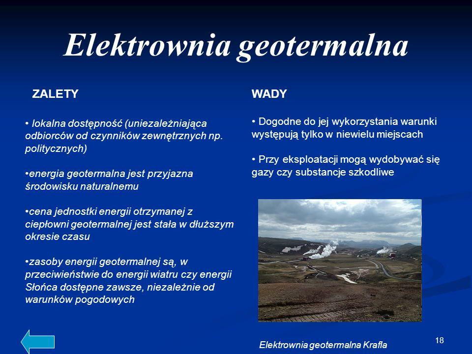 18 Elektrownia geotermalna lokalna dostępność (uniezależniająca odbiorców od czynników zewnętrznych np. politycznych) energia geotermalna jest przyjaz