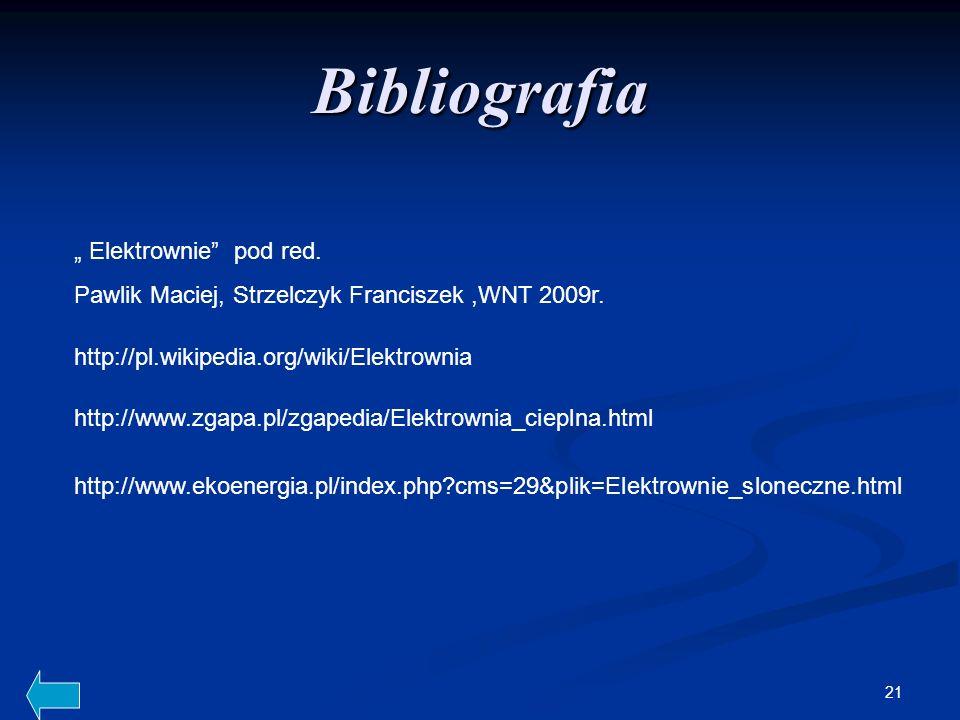 21 Bibliografia Elektrownie pod red. Pawlik Maciej, Strzelczyk Franciszek,WNT 2009r. http://pl.wikipedia.org/wiki/Elektrownia http://www.zgapa.pl/zgap