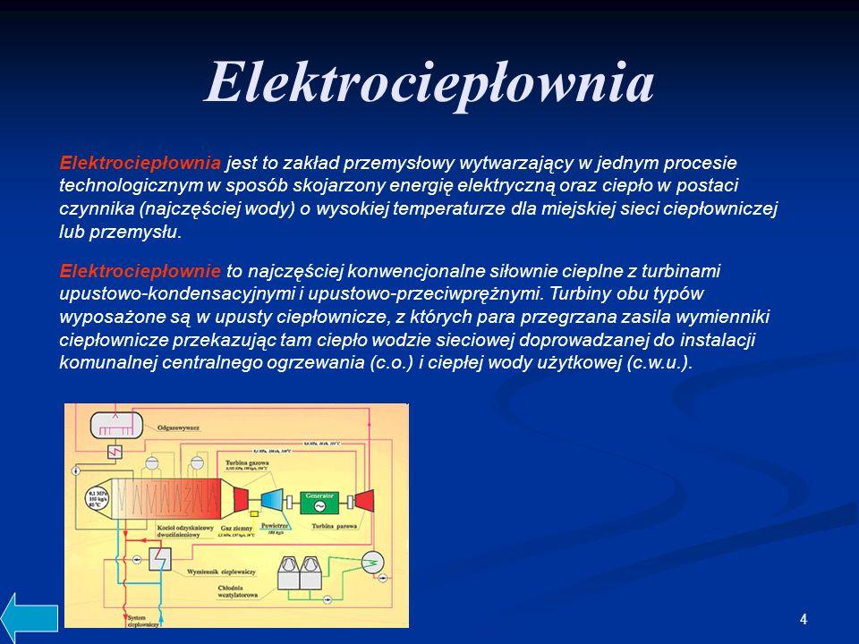 4 Elektrociepłownia Elektrociepłownia jest to zakład przemysłowy wytwarzający w jednym procesie technologicznym w sposób skojarzony energię elektryczną oraz ciepło w postaci czynnika (najczęściej wody) o wysokiej temperaturze dla miejskiej sieci ciepłowniczej lub przemysłu.