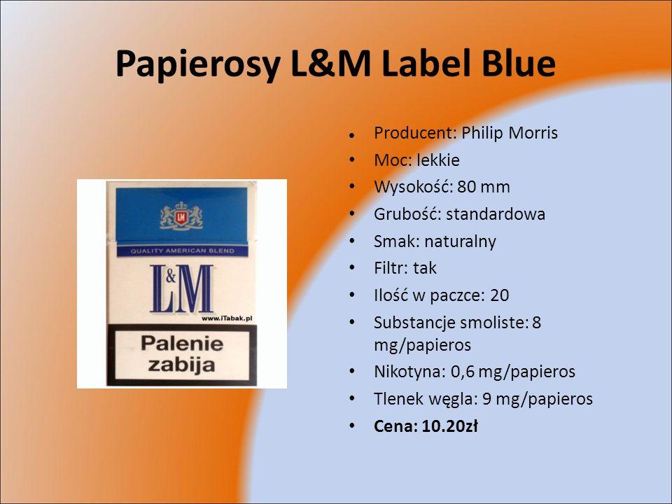 Papierosy L&M Label Blue Producent: Philip Morris Moc: lekkie Wysokość: 80 mm Grubość: standardowa Smak: naturalny Filtr: tak Ilość w paczce: 20 Subst