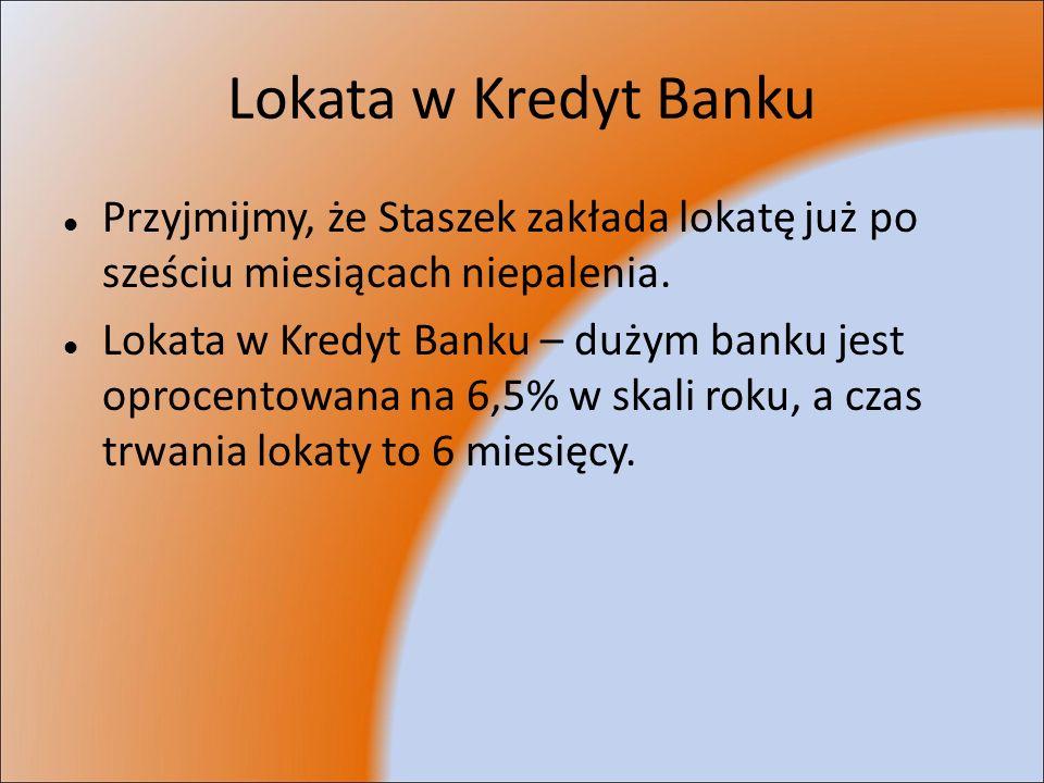 Lokata w Kredyt Banku Przyjmijmy, że Staszek zakłada lokatę już po sześciu miesiącach niepalenia. Lokata w Kredyt Banku – dużym banku jest oprocentowa