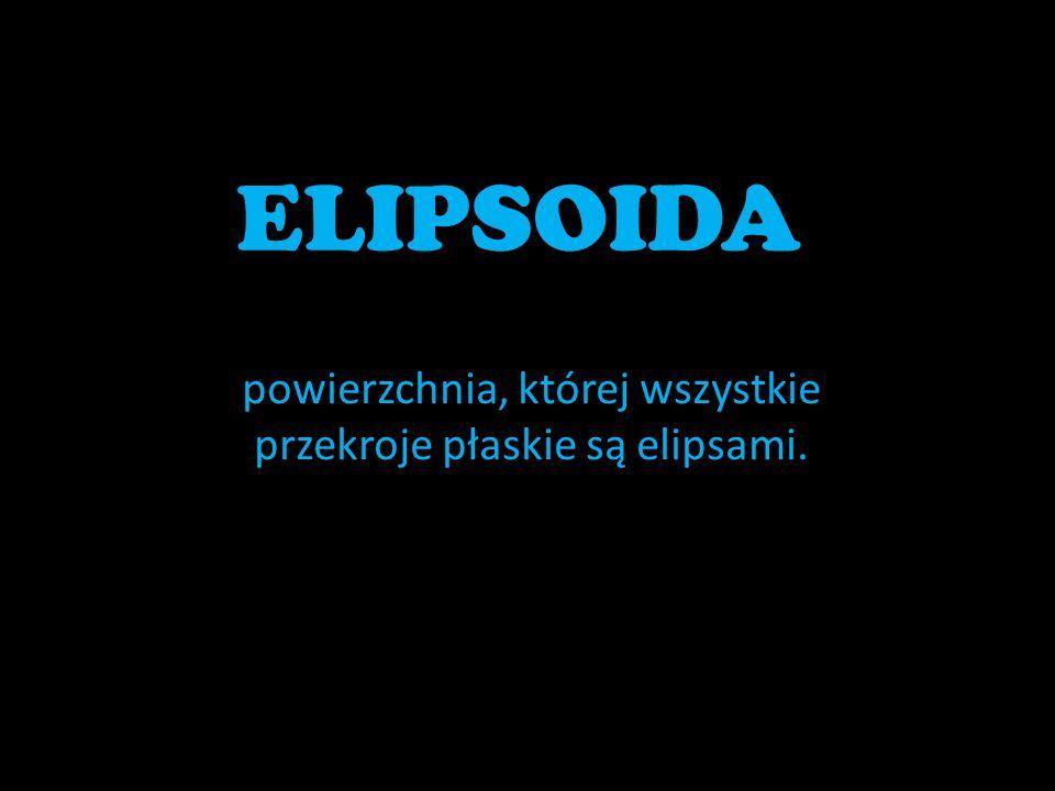 ELIPSOIDA powierzchnia, której wszystkie przekroje płaskie są elipsami.