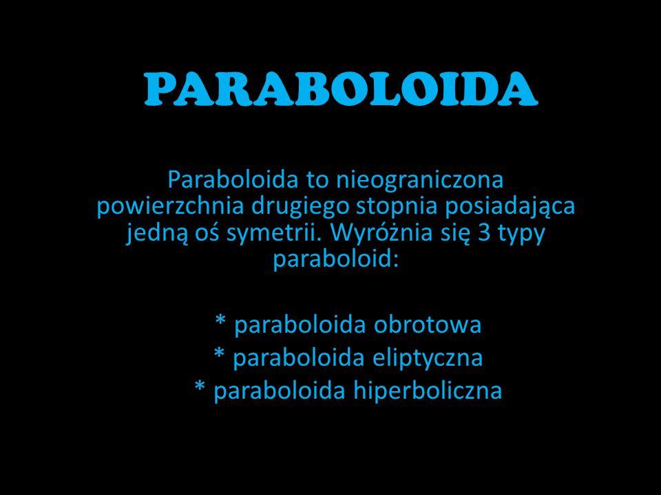 PARABOLOIDA Paraboloida to nieograniczona powierzchnia drugiego stopnia posiadająca jedną oś symetrii. Wyróżnia się 3 typy paraboloid: * paraboloida o
