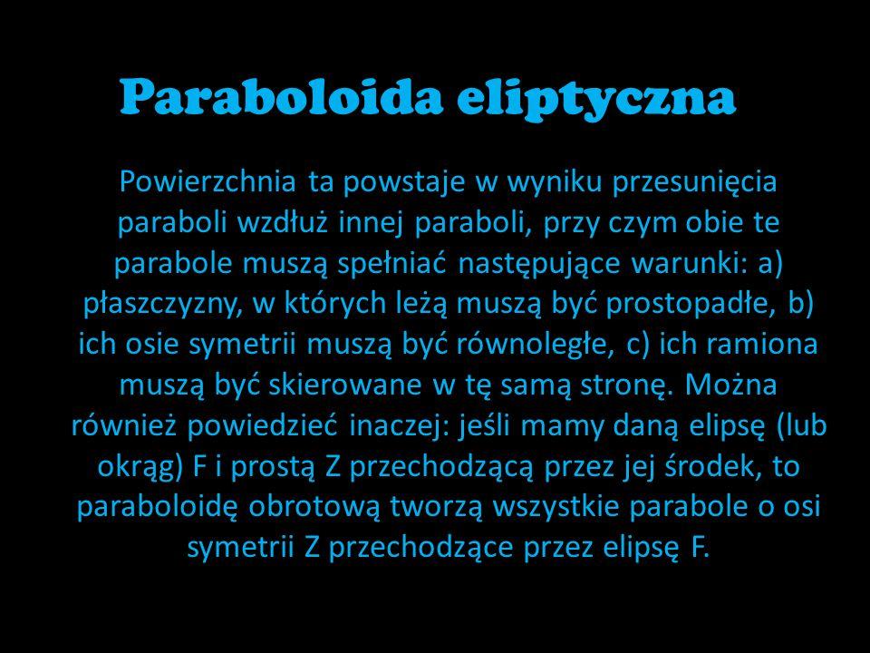 Paraboloida eliptyczna Powierzchnia ta powstaje w wyniku przesunięcia paraboli wzdłuż innej paraboli, przy czym obie te parabole muszą spełniać następ