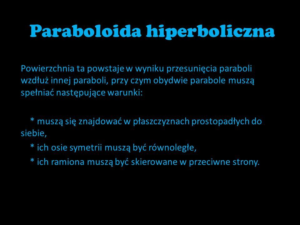 Paraboloida hiperboliczna Powierzchnia ta powstaje w wyniku przesunięcia paraboli wzdłuż innej paraboli, przy czym obydwie parabole muszą spełniać nas