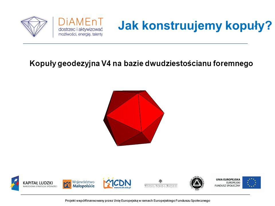 Projekt współfinansowany przez Unię Europejską w ramach Europejskiego Funduszu Społecznego Jak konstruujemy kopuły? Kopuły geodezyjna V4 na bazie dwud