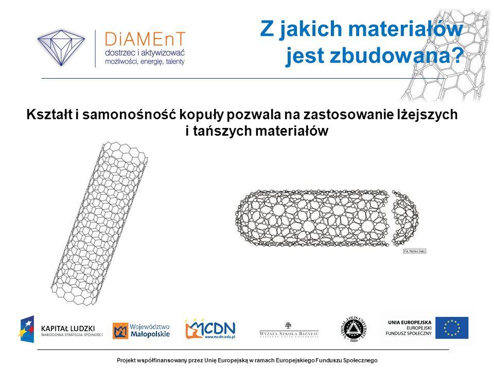 Kształt i samonośność kopuły pozwala na zastosowanie lżejszych i tańszych materiałów Projekt współfinansowany przez Unię Europejską w ramach Europejsk