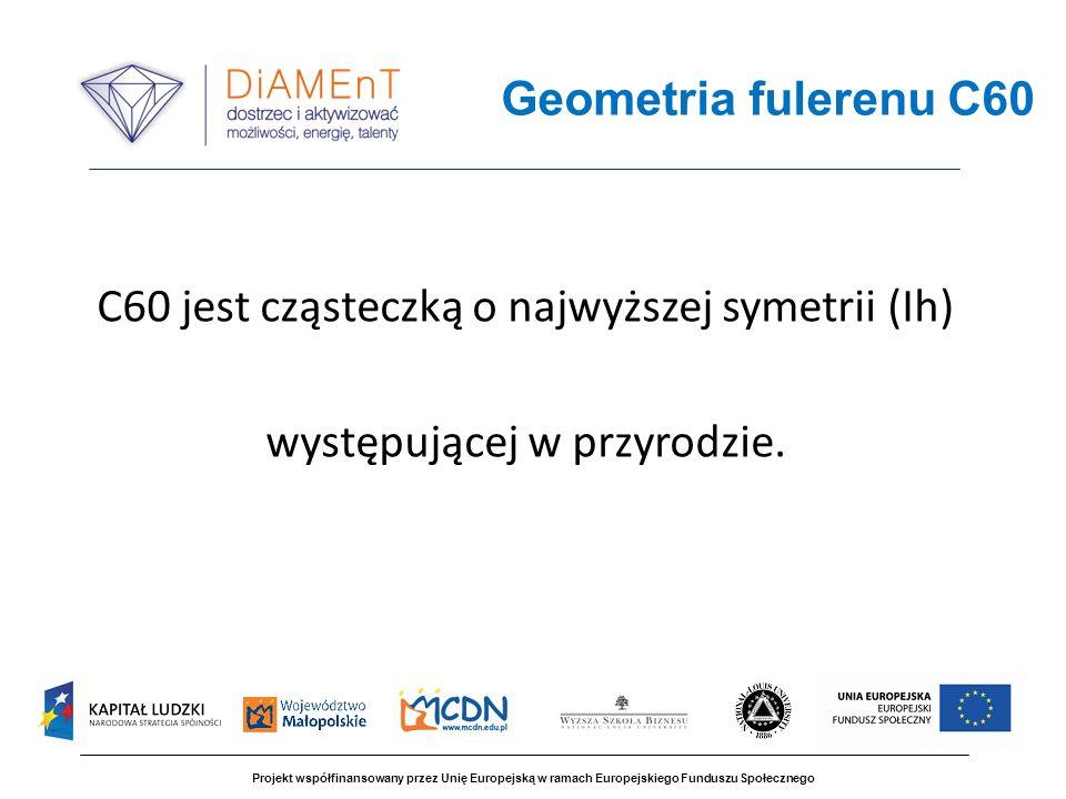 Projekt współfinansowany przez Unię Europejską w ramach Europejskiego Funduszu Społecznego C60 jest cząsteczką o najwyższej symetrii (Ih) występującej
