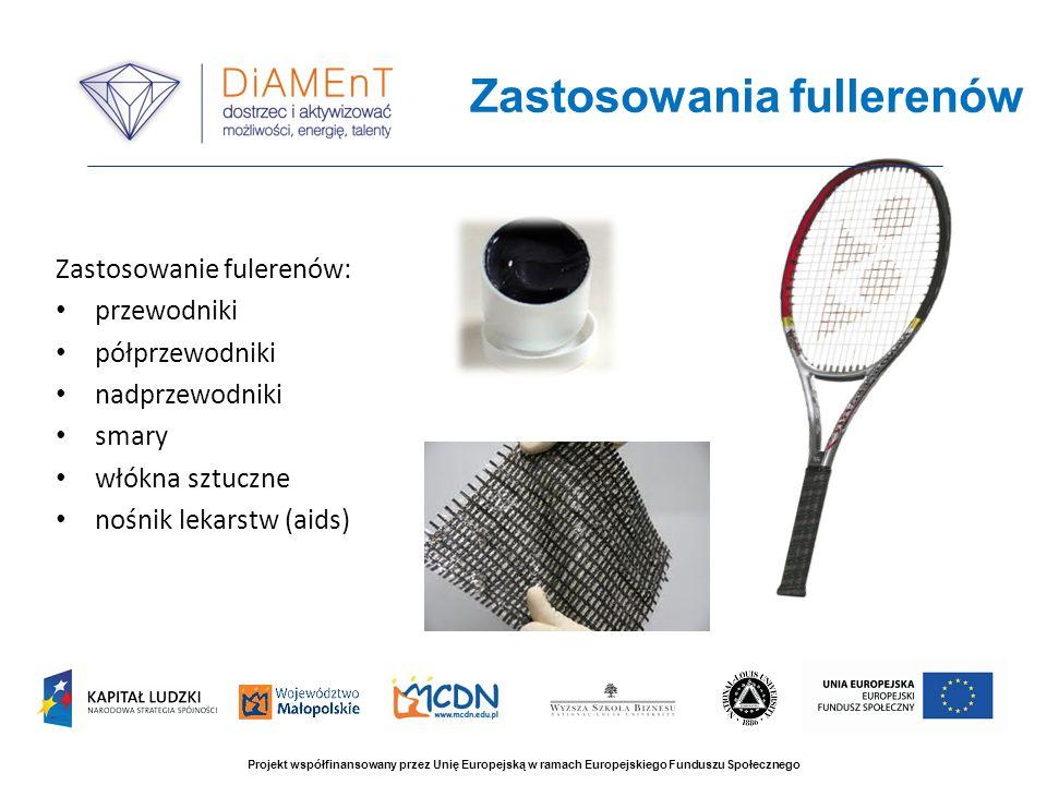 Zastosowania fullerenów Projekt współfinansowany przez Unię Europejską w ramach Europejskiego Funduszu Społecznego Zastosowanie fulerenów: przewodniki