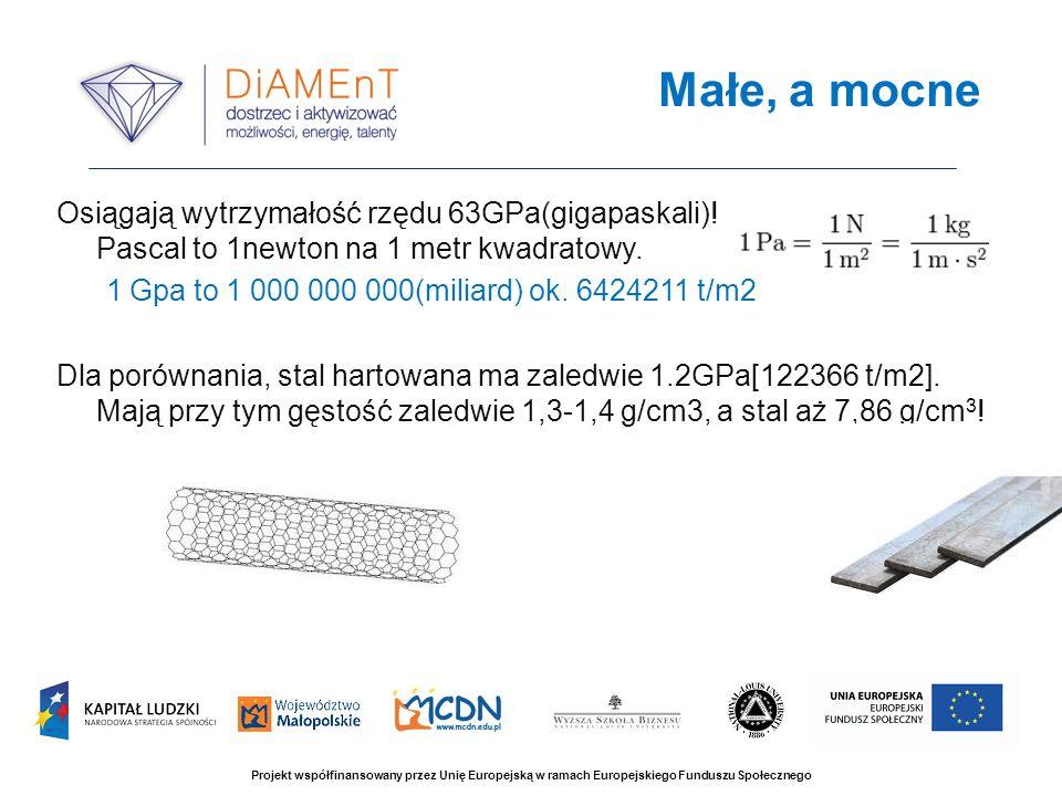 Osiągają wytrzymałość rzędu 63GPa(gigapaskali)! Pascal to 1newton na 1 metr kwadratowy. 1 Gpa to 1 000 000 000(miliard) ok. 6424211 t/m2 Dla porównani
