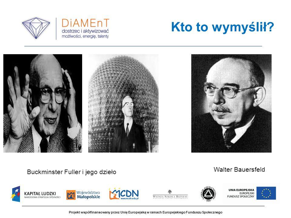 Projekt współfinansowany przez Unię Europejską w ramach Europejskiego Funduszu Społecznego Kto to wymyślił? Walter Bauersfeld Buckminster Fuller i jeg