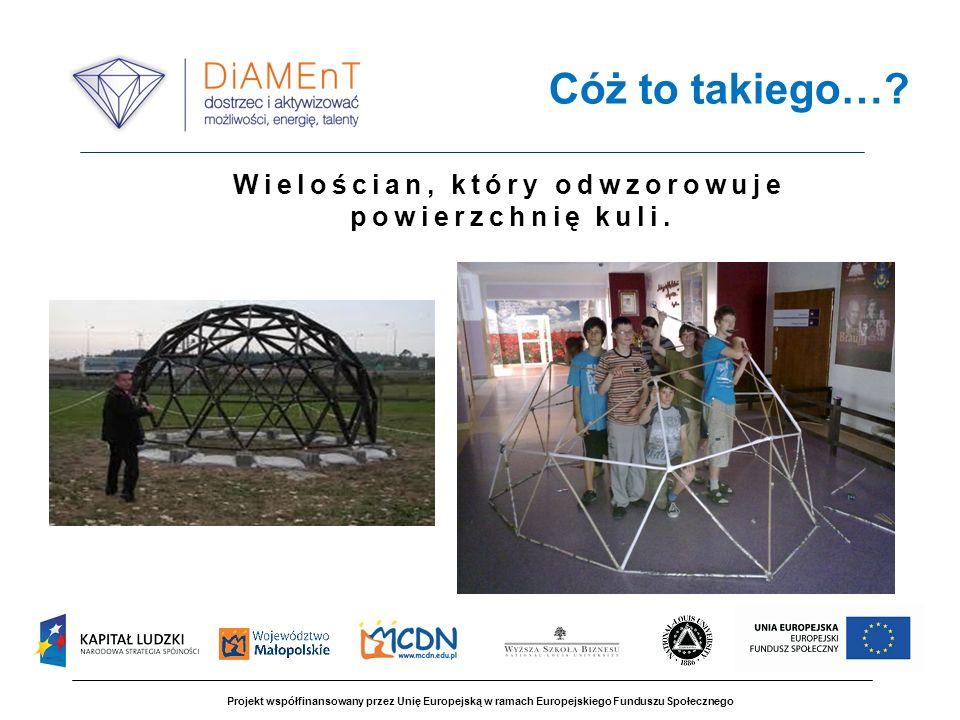 Projekt współfinansowany przez Unię Europejską w ramach Europejskiego Funduszu Społecznego Cóż to takiego…? Wielościan, który odwzorowuje powierzchnię