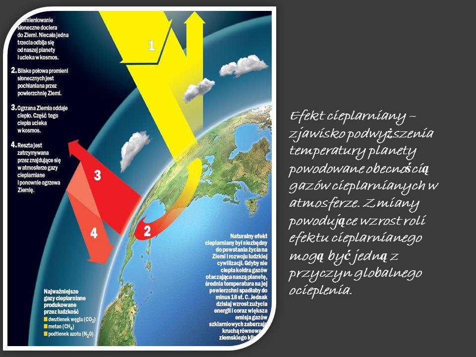 Efekt cieplarniany – zjawisko podwy ż szenia temperatury planety powodowane obecno ś ci ą gazów cieplarnianych w atmosferze.