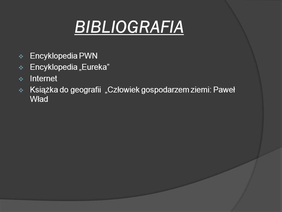 BIBLIOGRAFIA Encyklopedia PWN Encyklopedia Eureka Internet Książka do geografii Człowiek gospodarzem ziemi: Paweł Wład