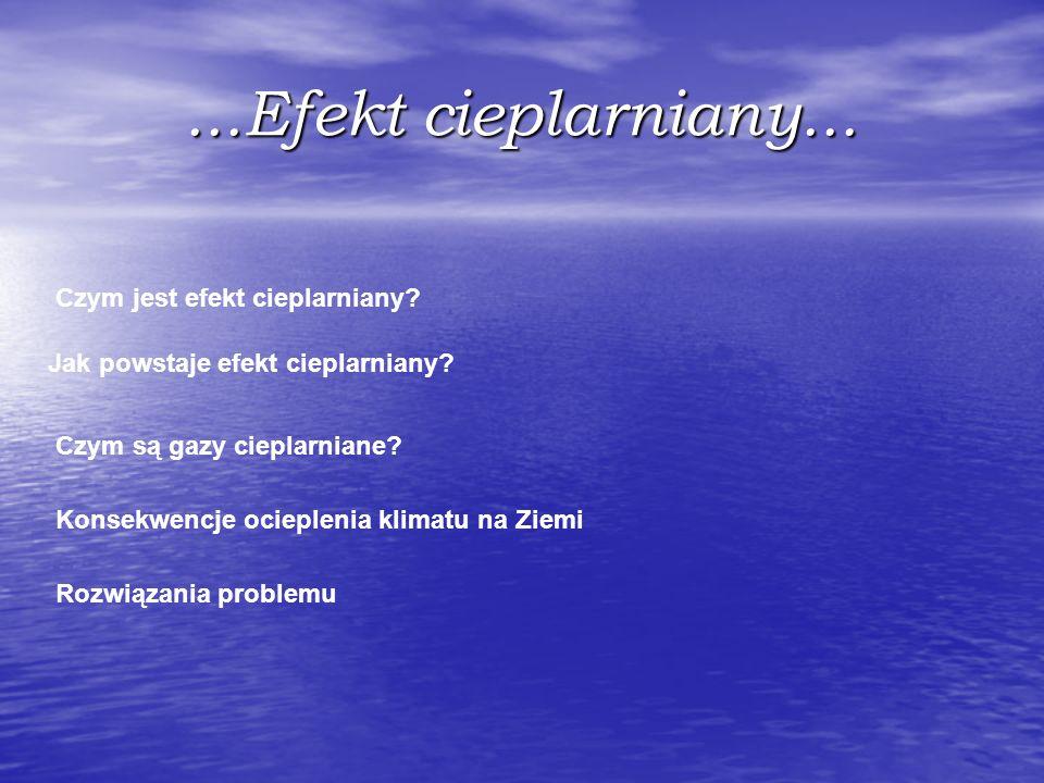...Efekt cieplarniany... Czym jest efekt cieplarniany? Jak powstaje efekt cieplarniany? Czym są gazy cieplarniane? Konsekwencje ocieplenia klimatu na