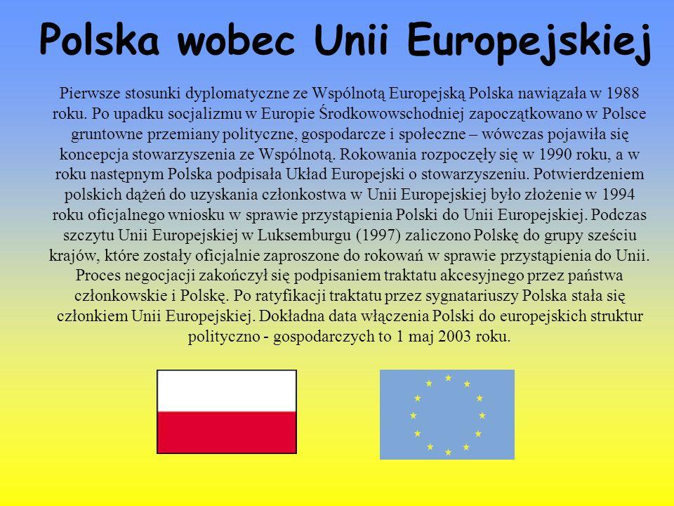 Pierwsze stosunki dyplomatyczne ze Wspólnotą Europejską Polska nawiązała w 1988 roku. Po upadku socjalizmu w Europie Środkowowschodniej zapoczątkowano