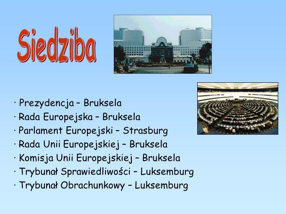 · Prezydencja – Bruksela · Rada Europejska – Bruksela · Parlament Europejski – Strasburg · Rada Unii Europejskiej – Bruksela · Komisja Unii Europejski