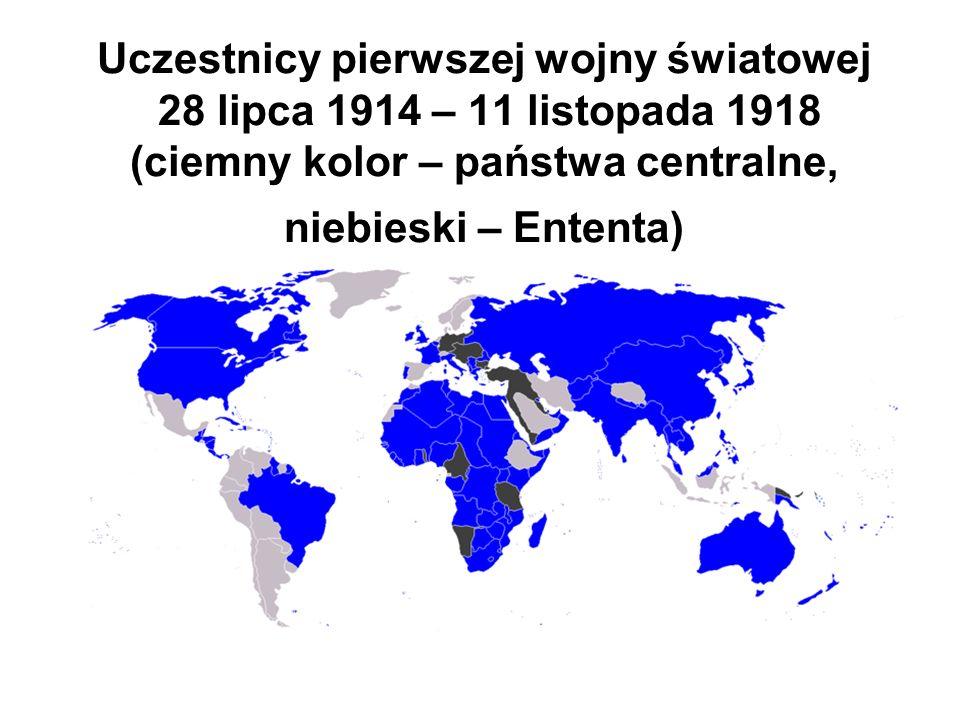 Uczestnicy pierwszej wojny światowej 28 lipca 1914 – 11 listopada 1918 (ciemny kolor – państwa centralne, niebieski – Ententa)