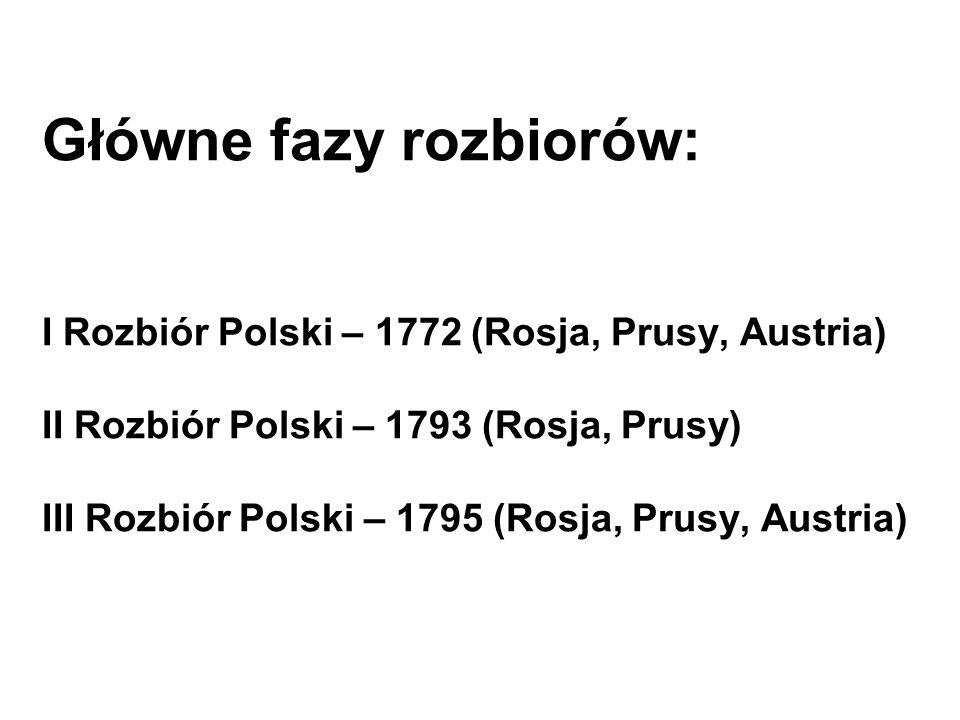 Główne fazy rozbiorów: I Rozbiór Polski – 1772 (Rosja, Prusy, Austria) II Rozbiór Polski – 1793 (Rosja, Prusy) III Rozbiór Polski – 1795 (Rosja, Prusy