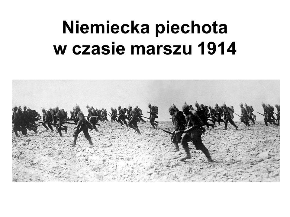 Niemiecka piechota w czasie marszu 1914