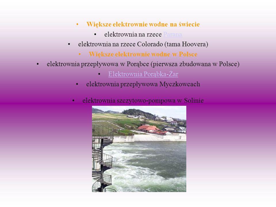Większe elektrownie wodne na świecie elektrownia na rzece ParanaParana elektrownia na rzece Colorado (tama Hoovera) Większe elektrownie wodne w Polsce
