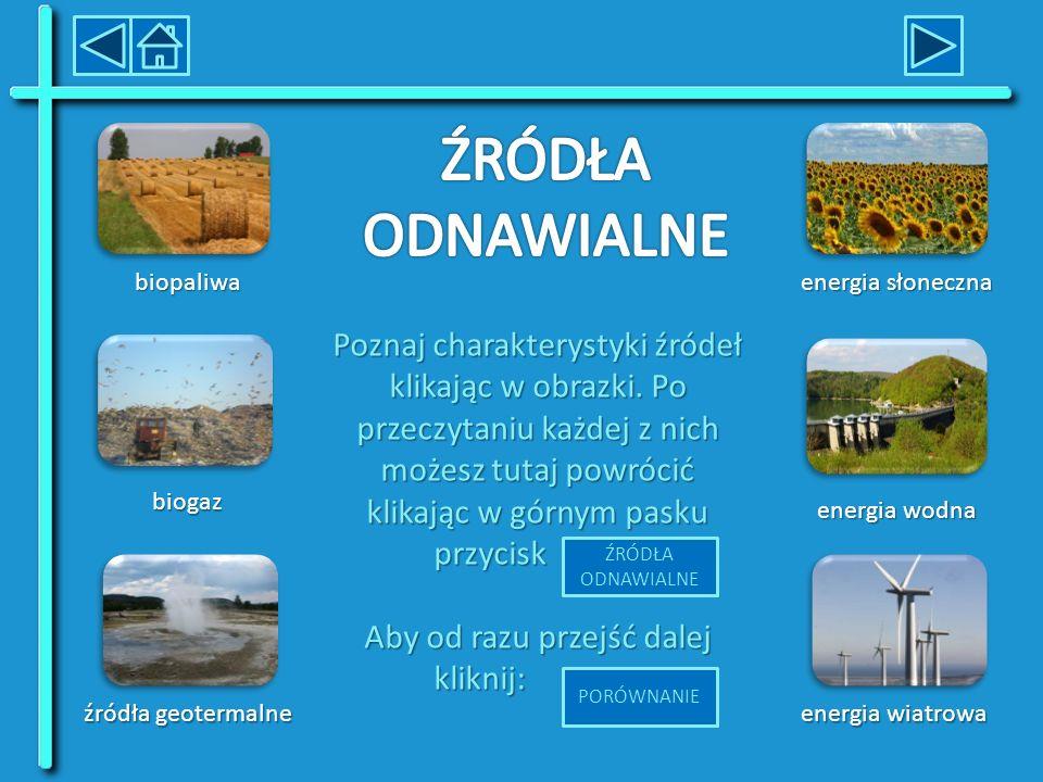 energia wodna energia wodna źródła geotermalne źródła geotermalne energia słoneczna energia słoneczna biopaliwa energia wiatrowa energia wiatrowa biogaz Poznaj charakterystyki źródeł klikając w obrazki.