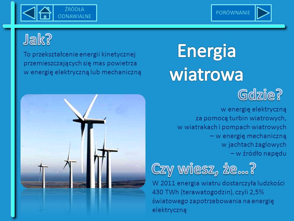 To przekształcenie energii kinetycznej przemieszczających się mas powietrza w energię elektryczną lub mechaniczną W 2011 energia wiatru dostarczyła ludzkości 430 TWh (terawatogodzin), czyli 2,5% światowego zapotrzebowania na energię elektryczną.