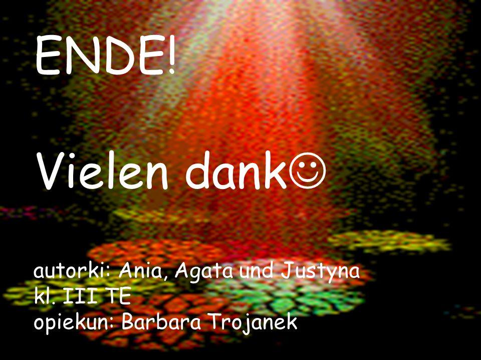 ENDE! Vielen dank autorki: Ania, Agata und Justyna kl. III TE opiekun: Barbara Trojanek