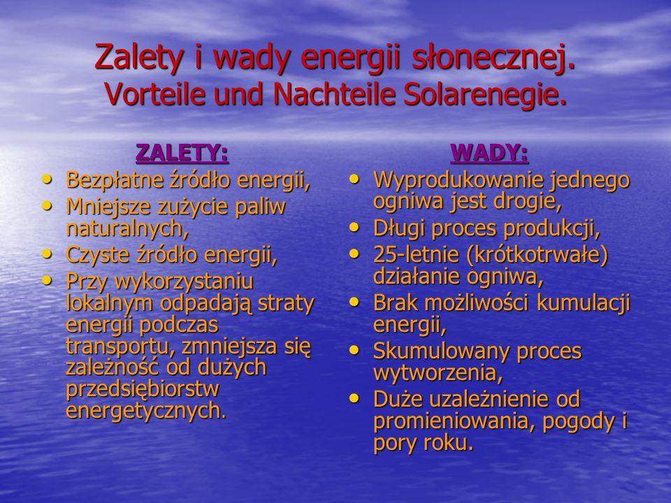 Zalety i wady energii słonecznej. Vorteile und Nachteile Solarenegie. ZALETY: Bezpłatne źródło energii, Bezpłatne źródło energii, Mniejsze zużycie pal