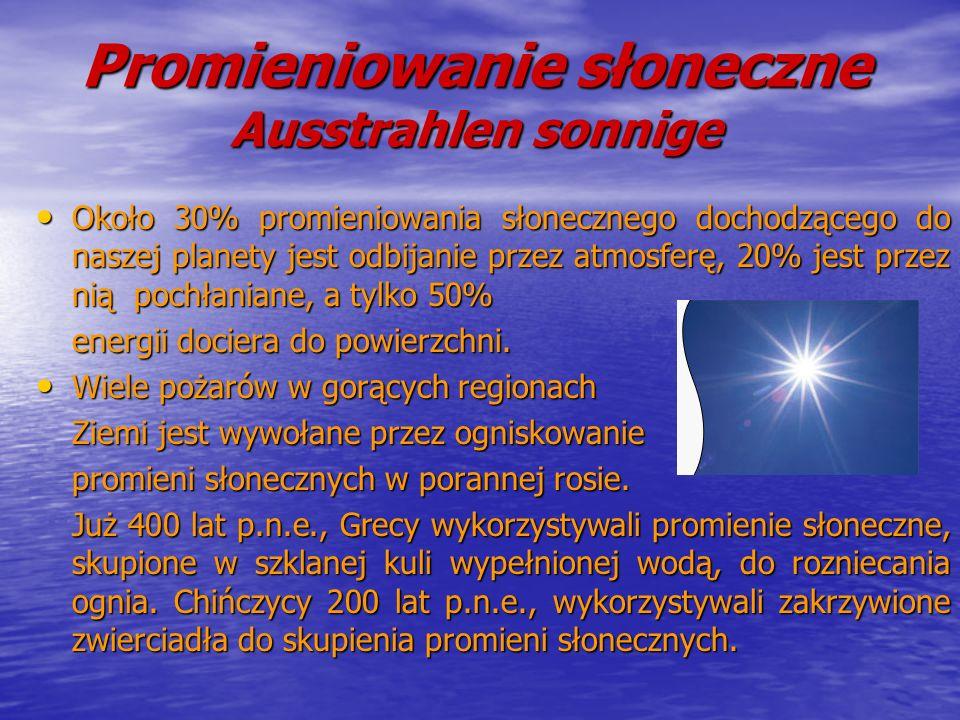 Promieniowanie słoneczne Ausstrahlen sonnige Około 30% promieniowania słonecznego dochodzącego do naszej planety jest odbijanie przez atmosferę, 20% j