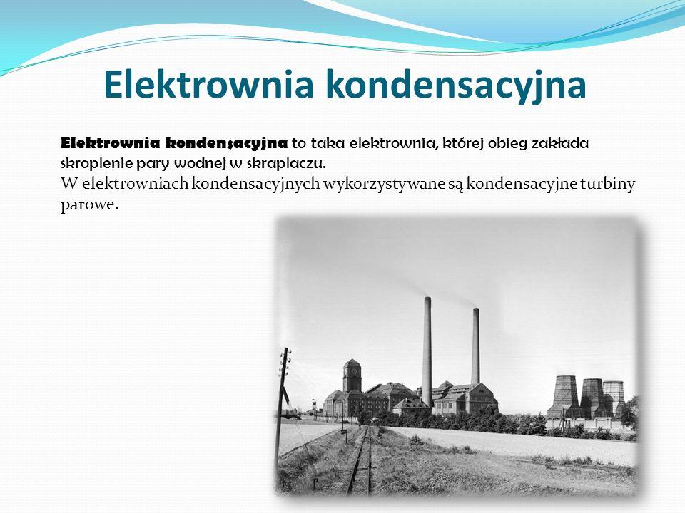 Elektrociepłownia Elektrociepłownia jest to zakład przemysłowy wytwarzaj ą cy w jednym procesie technologicznym w sposób skojarzony energi ę elektryczn ą oraz ciepło w postaci czynnika (najcz ęś ciej wody) o wysokiej temperaturze dla miejskiej sieci ciepłowniczej lub przemysłu.
