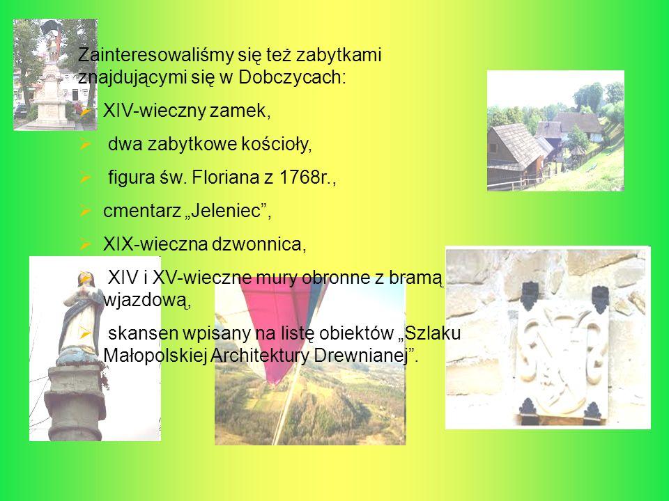 Zainteresowaliśmy się też zabytkami znajdującymi się w Dobczycach: XIV-wieczny zamek, dwa zabytkowe kościoły, figura św. Floriana z 1768r., cmentarz J