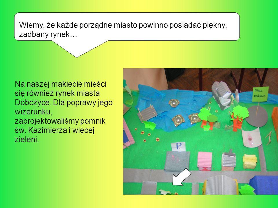 Wiemy, że każde porządne miasto powinno posiadać piękny, zadbany rynek… Na naszej makiecie mieści się również rynek miasta Dobczyce. Dla poprawy jego