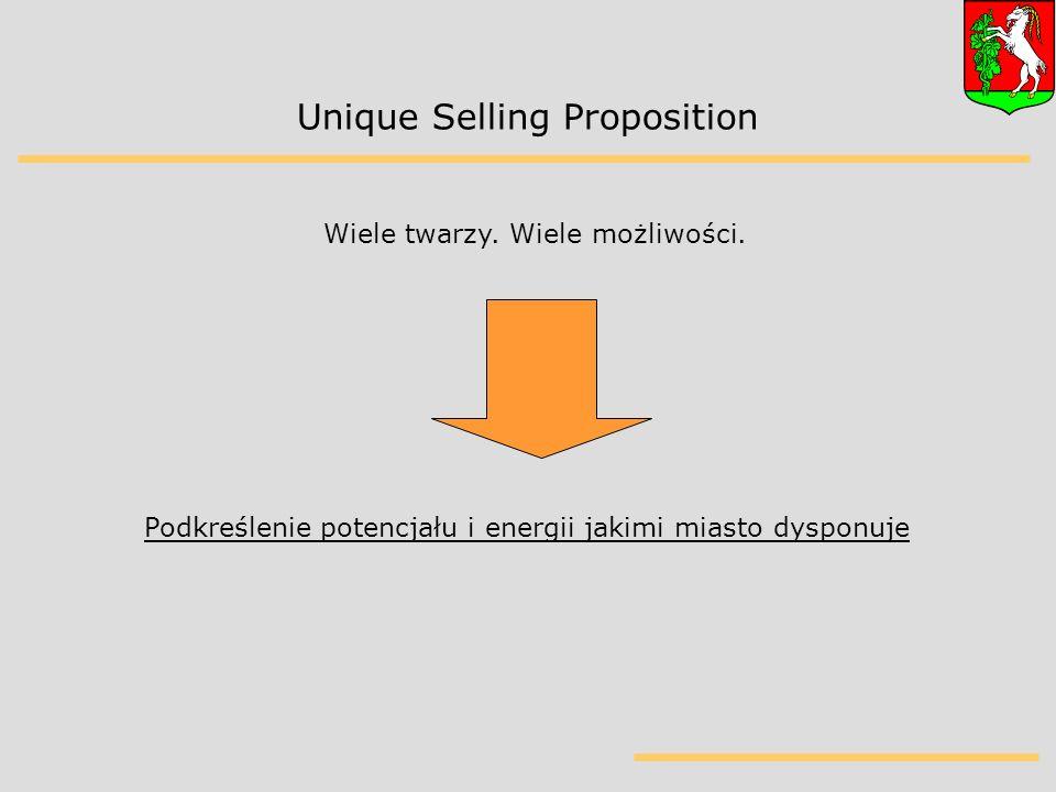 Unique Selling Proposition Podkreślenie potencjału i energii jakimi miasto dysponuje Wiele twarzy.