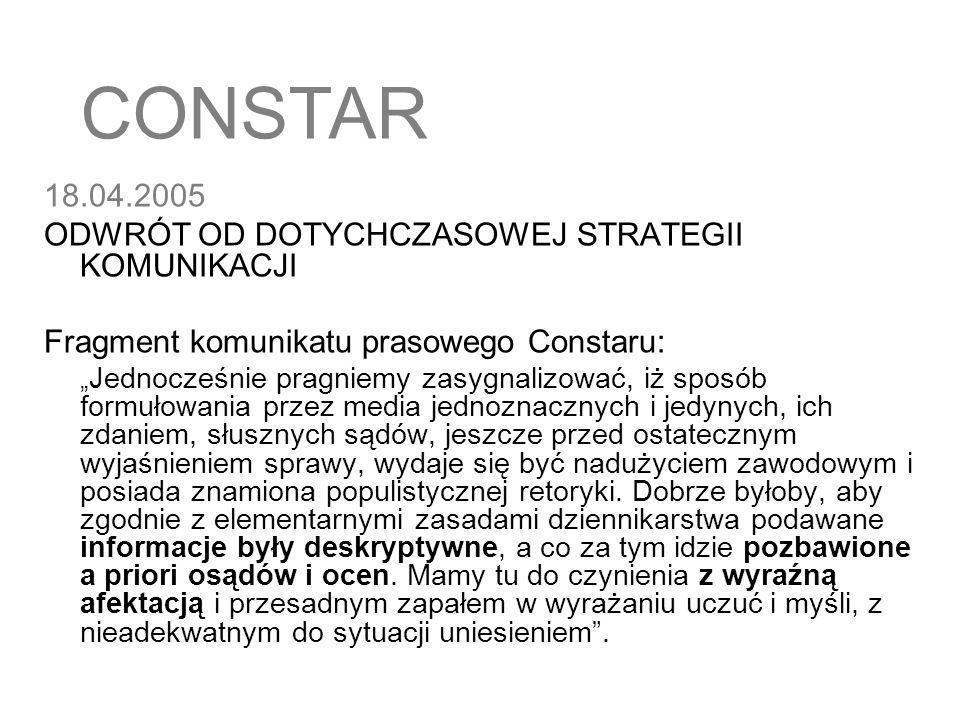 20.04.2005 Pierwsze informacje ze specjalnej komisji kontrolującej zakłady mięsne w Starachowicach potwierdzają zarzuty Rzeczpospolitej i TVN Tymczasem Constar: wszystkie kontrole stwierdziły jedynie niedociągnięcia i uchybienia.