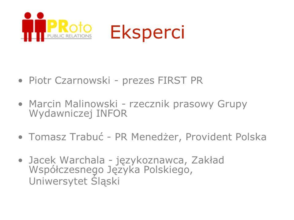Eksperci Piotr Czarnowski - prezes FIRST PR Marcin Malinowski - rzecznik prasowy Grupy Wydawniczej INFOR Tomasz Trabuć - PR Menedżer, Provident Polska