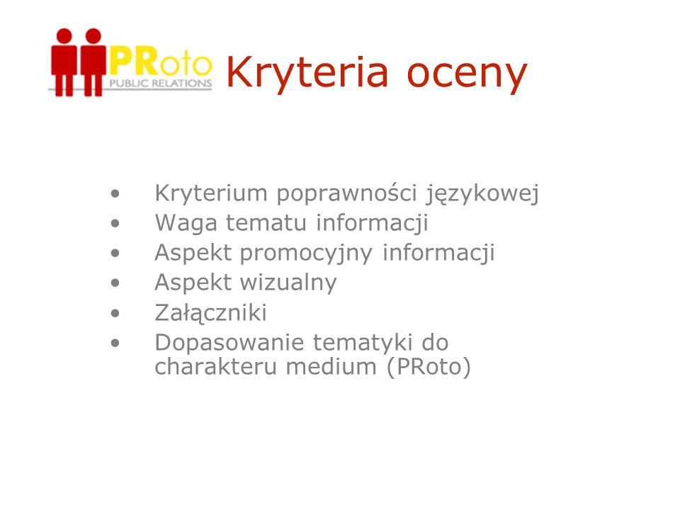Kryteria oceny Kryterium poprawności językowej Waga tematu informacji Aspekt promocyjny informacji Aspekt wizualny Załączniki Dopasowanie tematyki do