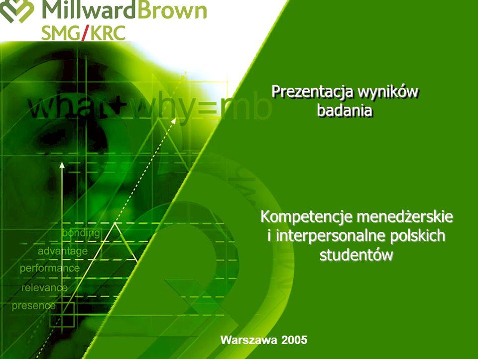 Prezentacja wyników badania Warszawa 2005 Kompetencje menedżerskie i interpersonalne polskich studentów