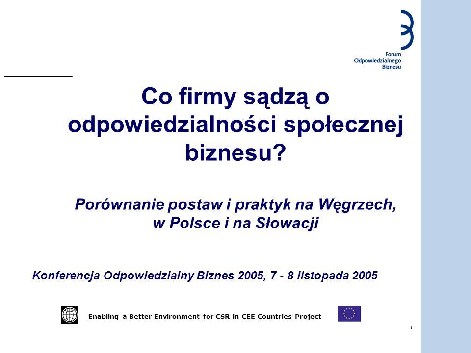 1 Co firmy sądzą o odpowiedzialności społecznej biznesu? Porównanie postaw i praktyk na Węgrzech, w Polsce i na Słowacji Konferencja Odpowiedzialny Bi