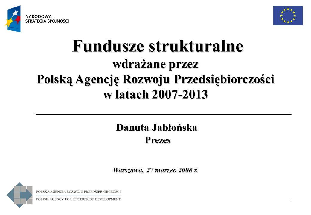1 Warszawa, 27 marzec 2008 r. Warszawa, 27 marzec 2008 r. Fundusze strukturalne Fundusze strukturalne wdrażane przez Polską Agencję Rozwoju Przedsiębi