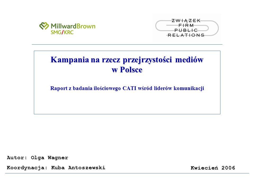 2 Cel i metodologia badawcza Cel badania Zbadanie opinii badanych liderów komunikacji na temat problemu korupcji w mediach i PR.