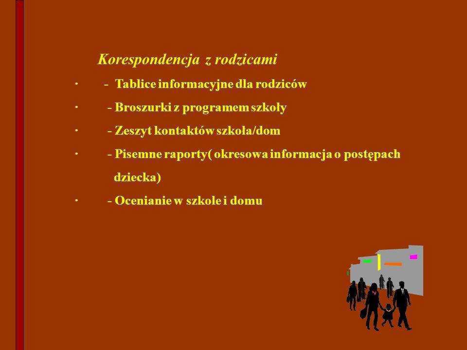 Korespondencja z rodzicami · - Tablice informacyjne dla rodziców · - Broszurki z programem szkoły · - Zeszyt kontaktów szkoła/dom · - Pisemne raporty(