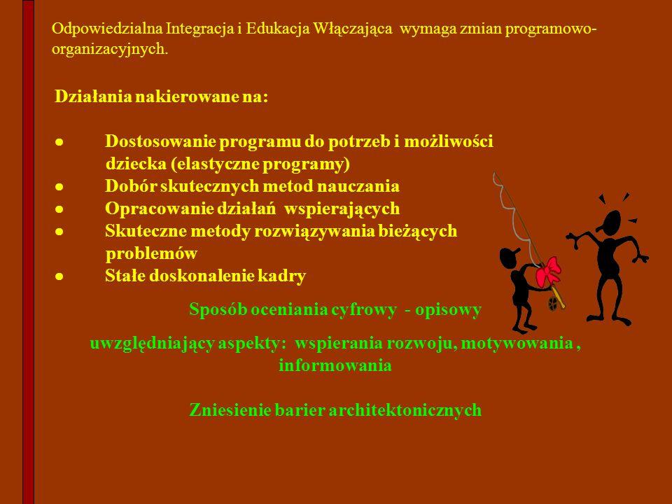 Działania nakierowane na: Dostosowanie programu do potrzeb i możliwości dziecka (elastyczne programy) Dobór skutecznych metod nauczania Opracowanie dz