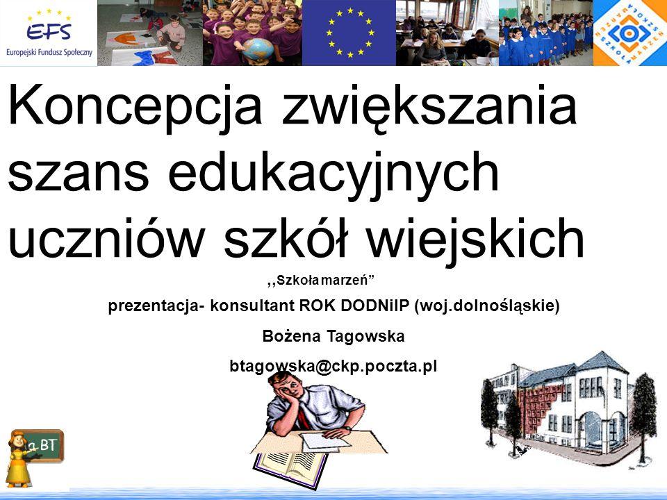 Koncepcja zwiększania szans edukacyjnych uczniów szkół wiejskich,, Szkoła marzeń prezentacja- konsultant ROK DODNiIP (woj.dolnośląskie) Bożena Tagowsk