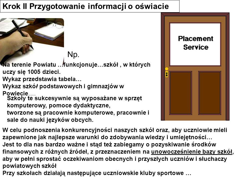 Krok II Przygotowanie informacji o oświacie Na terenie Powiatu …funkcjonuje…szkół, w których uczy się 1005 dzieci. Wykaz przedstawia tabela… Wykaz szk