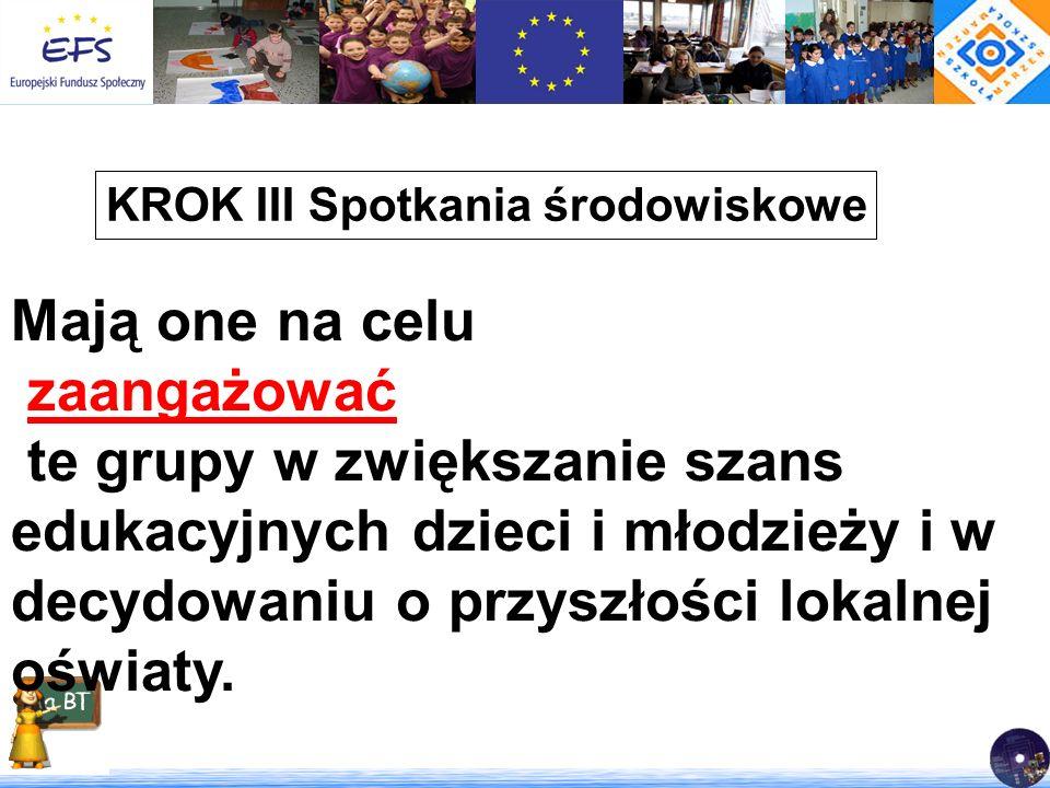 KROK III Spotkania środowiskowe Mają one na celu zaangażować te grupy w zwiększanie szans edukacyjnych dzieci i młodzieży i w decydowaniu o przyszłośc